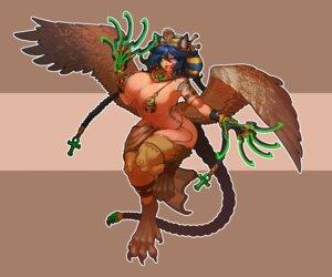 Rating: Questionable Score: 5 Tags: animal_ears areola bikini_armor garter last_origin monster_girl muhut tattoo wings User: dick_dickinson