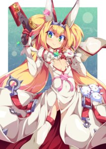 Rating: Questionable Score: 22 Tags: animal_ears blazblue bunny_ears cleavage cosplay dress elphelt_valentine guilty_gear gun ishii666 loli no_bra nopan platinum_the_trinity thighhighs User: Nico-NicoO.M.