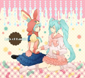 Rating: Safe Score: 4 Tags: hatsune_miku lots_of_laugh_(vocaloid) mogeratta vocaloid User: anaraquelk2