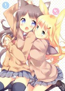 Rating: Safe Score: 29 Tags: animal_ears bunny_ears ech nekomimi pantsu seifuku shimapan sweater tail thighhighs yuri User: sym455