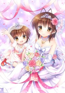Rating: Safe Score: 46 Tags: clannad dress furukawa_nagisa mauve okazaki_ushio wedding_dress User: 椎名深夏