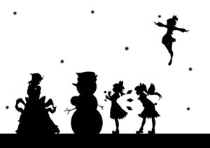 Rating: Safe Score: 9 Tags: cirno daiyousei kitazinger letty_whiterock monochrome rumia silhouette touhou User: itsu-chan