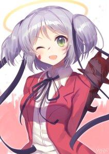 Rating: Safe Score: 29 Tags: blood bokusatsu_tenshi_dokuro-chan mitsukai_dokuro seifuku tagme weapon User: BattlequeenYume