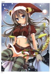 Rating: Safe Score: 43 Tags: bankoku_ayuya christmas mecha_musume tail thighhighs toranoana User: fireattack