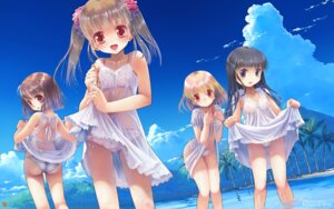 Rating: Questionable Score: 127 Tags: bra dress loli nipples no_bra pantsu see_through shimapan skirt_lift summer_dress wallpaper wet wet_clothes yuuro User: blooregardo