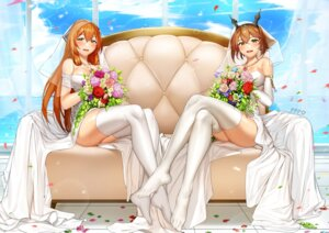 Rating: Safe Score: 52 Tags: cleavage crossover dress girls_frontline jai_(whany1998) kantai_collection mutsu_(kancolle) skirt_lift springfield_(girls_frontline) thighhighs wedding_dress User: Mr_GT