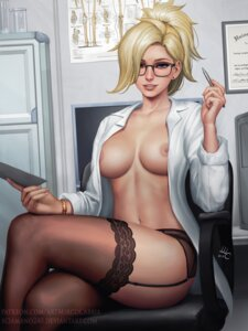 Rating: Questionable Score: 72 Tags: garter_belt megane mercy_(overwatch) mirco_cabbia nipples no_bra open_shirt overwatch pantsu stockings thighhighs watermark User: kamikazemonk