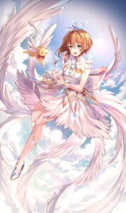 Rating: Safe Score: 25 Tags: card_captor_sakura heels kerberos kinomoto_sakura kiwi_(pixiv6429539) skirt_lift wings User: Mr_GT