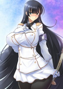 Rating: Safe Score: 33 Tags: breast_hold erect_nipples haganef ikaruga pantyhose senran_kagura sword uniform User: mash