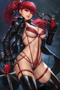 Rating: Questionable Score: 32 Tags: garter lingerie nudtawut_thongmai open_shirt persona_5 sword thighhighs yoshizawa_kasumi User: Darkthought75