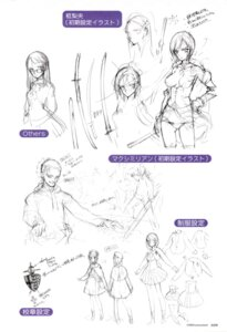 Rating: Safe Score: 6 Tags: character_design cleavage hitsugi_rio littlewitch megane monochrome no_bra oyari_ashito rosen_maximilian seifuku seiken_no_faeries sketch sword User: admin2