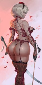 Rating: Questionable Score: 71 Tags: ass garter_belt lingerie nier_automata nipples pantsu robutts stockings sword thighhighs thong yorha_no.2_type_b User: charunetra