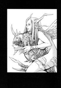 Rating: Questionable Score: 3 Tags: claymore horns monochrome monster_girl naked thighhighs wings yagi_norihiro User: Radioactive
