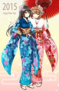 Rating: Safe Score: 43 Tags: kantai_collection kase_daiki kimono mutsu_(kancolle) nagato_(kancolle) umbrella User: Mr_GT