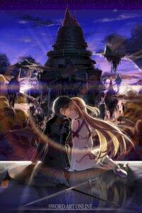 Rating: Safe Score: 26 Tags: asuna_(sword_art_online) kirito landscape sword sword_art_online thighhighs User: birdy73