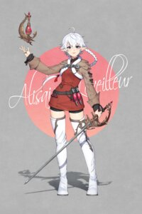 Rating: Safe Score: 13 Tags: alisaie bike_shorts final_fantasy final_fantasy_xiv lemonpear pointy_ears sword thighhighs User: Dreista