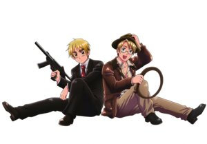 Rating: Safe Score: 3 Tags: america business_suit gun hetalia_axis_powers himaruya_hidekazu male megane united_kingdom User: Radioactive