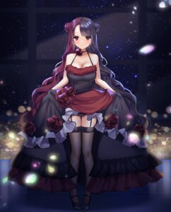 Rating: Questionable Score: 22 Tags: cleavage dress fishnets no_bra pantsu poho skirt_lift stockings tagme thighhighs User: BattlequeenYume