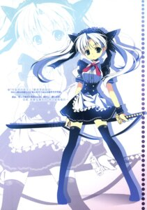 Rating: Safe Score: 14 Tags: capura.l eternal_phantasia maid sword thighhighs User: fireattack
