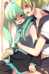 Rating: Questionable Score: 15 Tags: breast_grab fujisaki_hikari hatsune_miku kagamine_len vocaloid User: charunetra