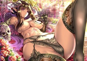 Rating: Questionable Score: 161 Tags: cleavage cream elf garter_belt lingerie pantsu pointy_ears saburou_(hgmg) stockings thighhighs topless underboob wet wings User: Mr_GT