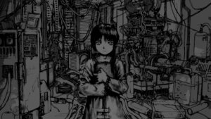 Rating: Safe Score: 14 Tags: abe_yoshitoshi iwakura_lain monochrome serial_experiments_lain wallpaper User: Tutooroo