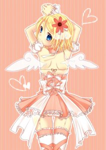 Rating: Questionable Score: 32 Tags: dress kagamine_rin pantsu stockings thighhighs vocaloid wings yayoi User: Nekotsúh
