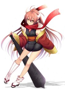 Rating: Safe Score: 31 Tags: agekichi asian_clothes horns pointy_ears weapon User: tbchyu001