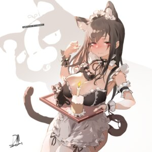 Rating: Questionable Score: 14 Tags: animal_ears cleavage dm_(dai_miao) maid nekomimi no_bra tail thighhighs User: Munchau