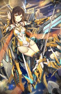 Rating: Safe Score: 53 Tags: cleavage heels huali mecha_musume muta thighhighs weapon yan_xi User: Mr_GT