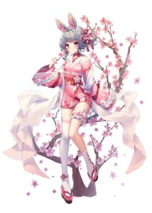 Rating: Questionable Score: 26 Tags: animal_ears bunny_ears garter japanese_clothes shiro_albino tagme thighhighs User: Mr_GT