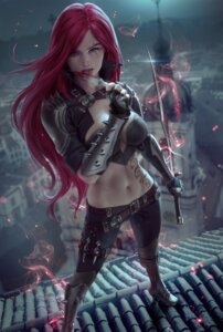 Rating: Questionable Score: 15 Tags: armor blood cleavage katarina_du_couteau league_of_legends no_bra sword tattoo weapon zarory User: Darkthought75