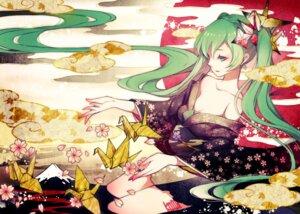 Rating: Safe Score: 29 Tags: cleavage hatsune_miku kimono open_shirt reika_(clovia_studio) vocaloid User: YLOPPOA105K