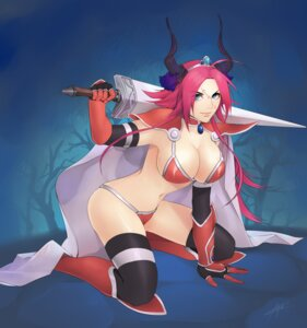 Rating: Safe Score: 25 Tags: armor bikini_armor cleavage cosplay fate/extra fate/extra_ccc fate/grand_order fate/stay_night horns lilbang rider_(fate/extra) sword thighhighs User: mash
