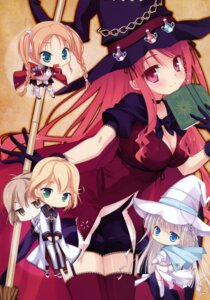 Rating: Safe Score: 56 Tags: armor chibi cleavage dress hatano_ririko hinomiya_ayari kobuichi saimon_eclair saimon_misumi stockings thighhighs windmill_oasis witch witch's_garden yukimura_suzuno User: WtfCakes