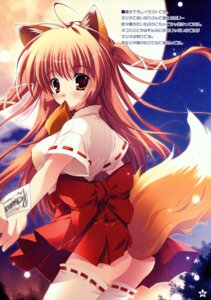 Rating: Questionable Score: 31 Tags: animal_ears kitsune mikeou miko nopan paper_texture pink_chuchu tail thighhighs User: midzki
