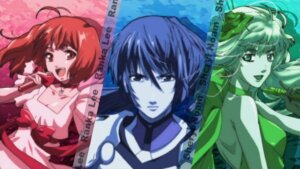 Rating: Safe Score: 7 Tags: macross macross_frontier overfiltered ranka_lee saotome_alto sheryl_nome User: lilith7