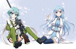Rating: Safe Score: 54 Tags: asuna_(sword_art_online) gun gun_gale_online nakajima_yuka pointy_ears sinon sword_art_online thighhighs User: demonbane1349