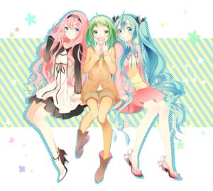 Rating: Safe Score: 40 Tags: cleavage dress gumi hatsune_miku heels megurine_luka pantyhose temari_(artist) vocaloid User: charunetra