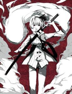 Rating: Safe Score: 31 Tags: kodama_(wa-ka-me) konpaku_youmu monochrome myon sword touhou User: charunetra