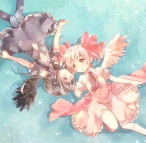 Rating: Safe Score: 32 Tags: akemi_homura dress gothic_lolita kaname_madoka lolita_fashion no_bra ousaka_nozomi pantyhose puella_magi_madoka_magica wings yuri User: Nekotsúh