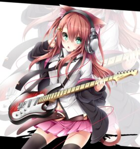 Rating: Safe Score: 58 Tags: animal_ears guitar headphones nekomimi tail thighhighs tyaba_neko User: 椎名深夏
