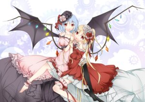 Rating: Questionable Score: 20 Tags: dress flandre_scarlet garter huayue remilia_scarlet touhou wings User: gnarf1975