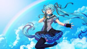 Rating: Safe Score: 6 Tags: hatsune_miku matsuda_toki skirt_lift thighhighs vocaloid wallpaper User: charunetra