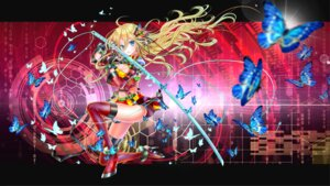 Rating: Safe Score: 32 Tags: cleavage heels lily_(vocaloid) momo_moyon pantsu sword thighhighs vocaloid User: KazukiNanako