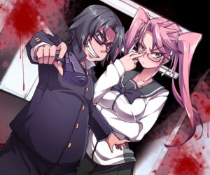 Rating: Safe Score: 16 Tags: blood bon_(moegomi) breast_hold gun highschool_of_the_dead hirano_kohta megane seifuku takagi_saya User: Velociraptor