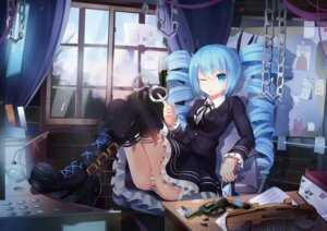 Rating: Questionable Score: 74 Tags: dress hatsune_miku himitsu_keisatsu_(vocaloid) pantsu shimapan thighhighs vocaloid weapon zerii User: KazukiNanako