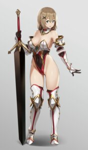Rating: Safe Score: 79 Tags: armor cleavage houtengeki leotard sword thighhighs User: Mr_GT