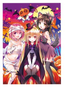 Rating: Questionable Score: 81 Tags: animal_ears bandages cleavage dress golden_darkness halloween momo_velia_deviluke naked_ribbon nekomimi peke stockings tail thighhighs to_love_ru to_love_ru_darkness torn_clothes yabuki_kentarou yuuki_mikan User: Twinsenzw