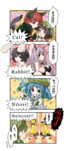 Rating: Safe Score: 8 Tags: animal_ears bunny_ears bunny_girl chen hakurei_reimu inaba_tewi kaenbyou_rin kawashiro_nitori kintaro kirisame_marisa kochiya_sanae reisen_udongein_inaba tail touhou User: Radioactive